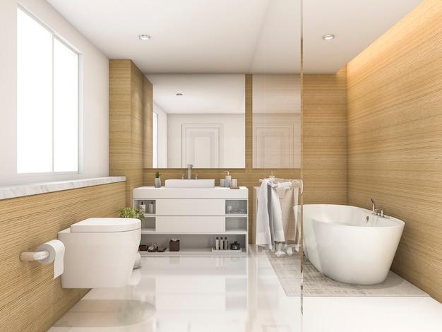 Renderização 3d, madeira de faia e branco banheiro e vaso sanitário mínimos
