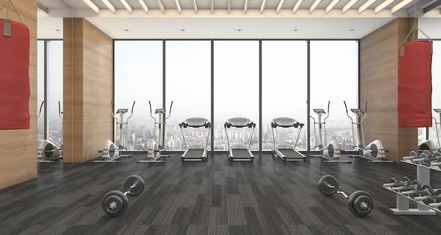 Renderização 3d madeira fitness e ginásio com saco de areia de treinamento vermelho