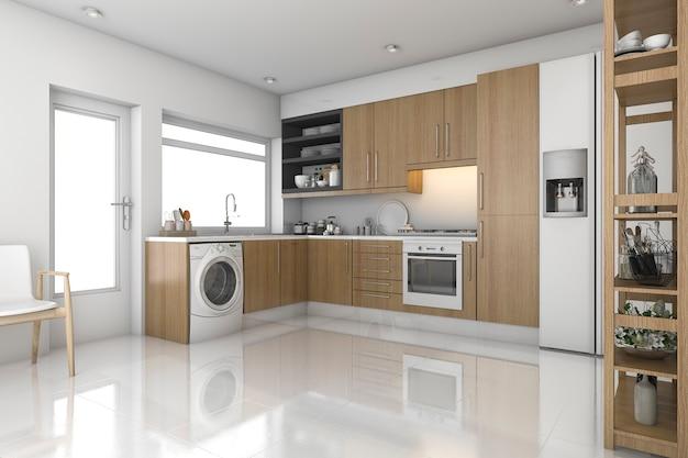 Renderização 3d, madeira, lavanderia moderna, e, cozinha