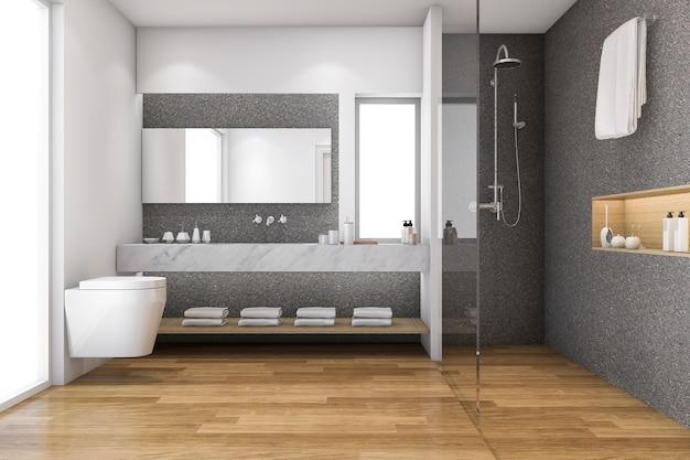 Renderização 3d, madeira loft, e, pedra, decoração, banheiro, perto, janela