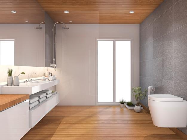 Renderização 3d, madeira, modernos, banheiro banheiro, perto janela