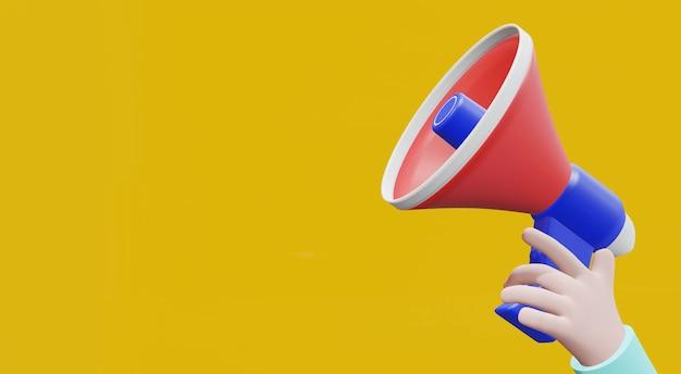 Renderização 3d mão dos desenhos animados segurando o megafone em fundo amarelo com espaço de cópia.