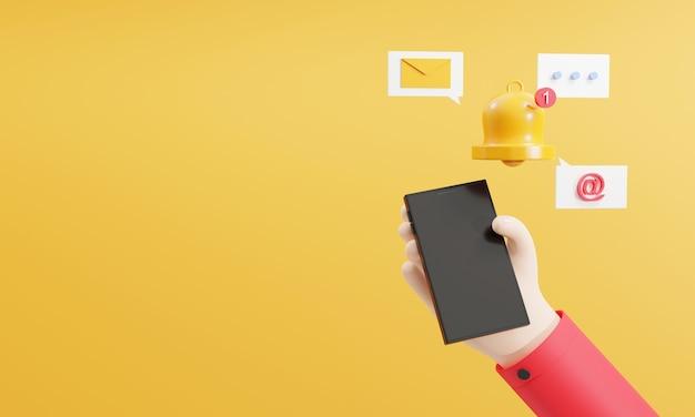Renderização 3d mão humana usando smartphone com tecnologia de gadget inteligente de ícone de alerta de notificação