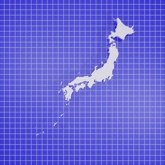 Renderização 3d mapa japão
