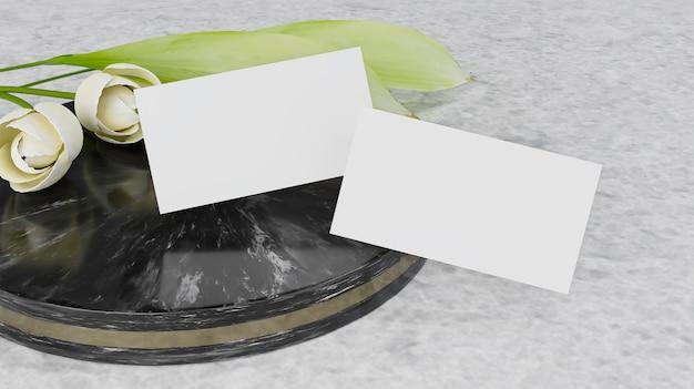 Renderização 3d maquete de cartão de visita com flor whote.