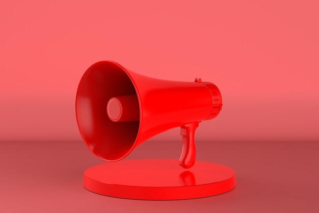 Renderização 3d - megafone vermelho no palco com fundo vermelho