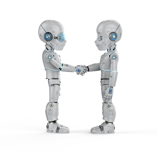 Renderização 3d menino robô mão tremendo isolado no branco