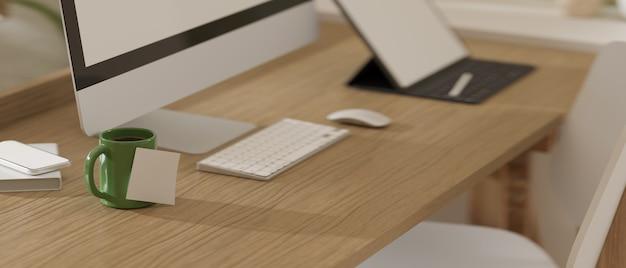 Renderização 3d mesa de madeira para computador com caneca de equipamentos e tablet digital com cadeira branca