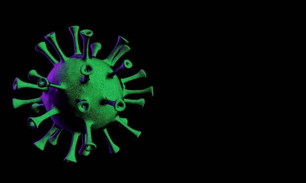 Renderização 3d. microscopic covid-19 pandemic. mutação do vírus.