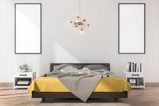 Renderização 3d mínima cama amarela com mock up frame no quarto