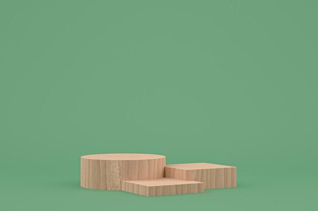 Renderização 3d mínima em pódio de madeira ou apresentação de produto no estande