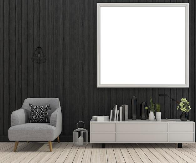 Renderização 3d mock up frame na sala de estar com poltrona