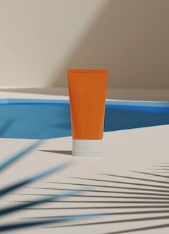 Renderização 3d mockup protetor solar. pacote de produto de recipientes de plástico em branco de beleza cosmética.