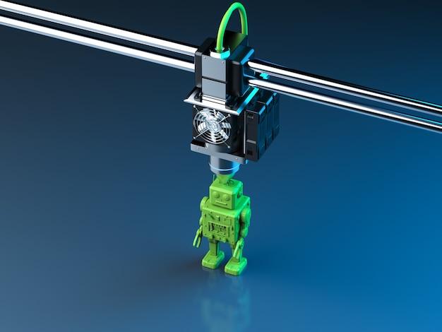 Renderização 3d modelo de robô de impressão de impressora 3d