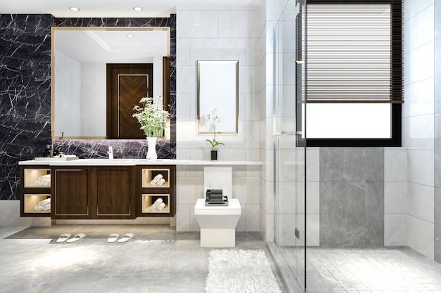 Renderização 3d moderna casa de banho com decoração de azulejos de luxo