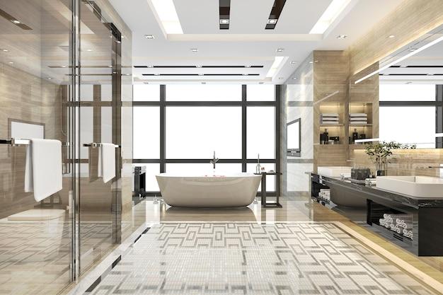 Renderização 3d moderna casa de banho loft com decoração de azulejos de luxo
