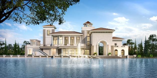 Renderização 3d moderna clássica clubhouse castelo com design de luxo jardim perto do lago