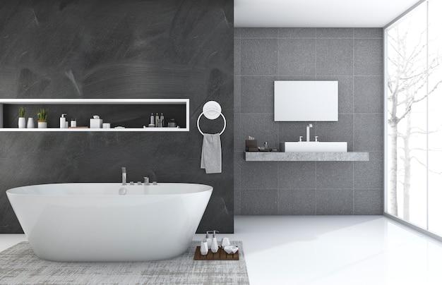 Renderização 3d moderna e estilo loft banheiro com bela vista do inverno