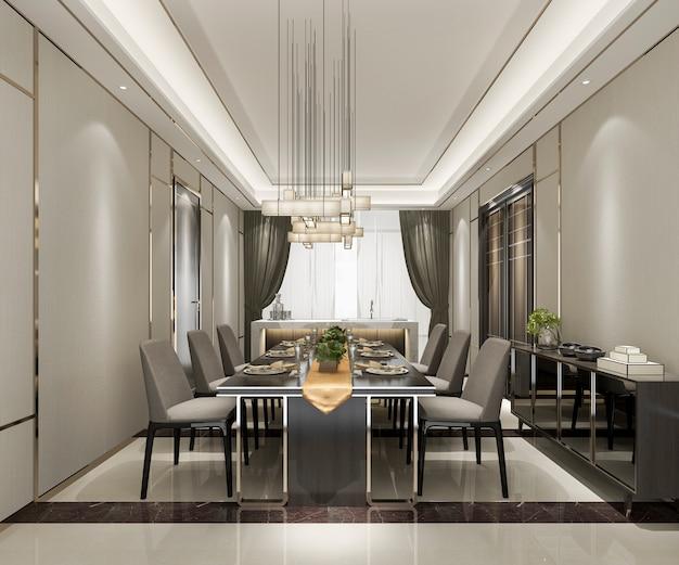 Renderização 3d moderna e luxuosa sala de jantar com lustre