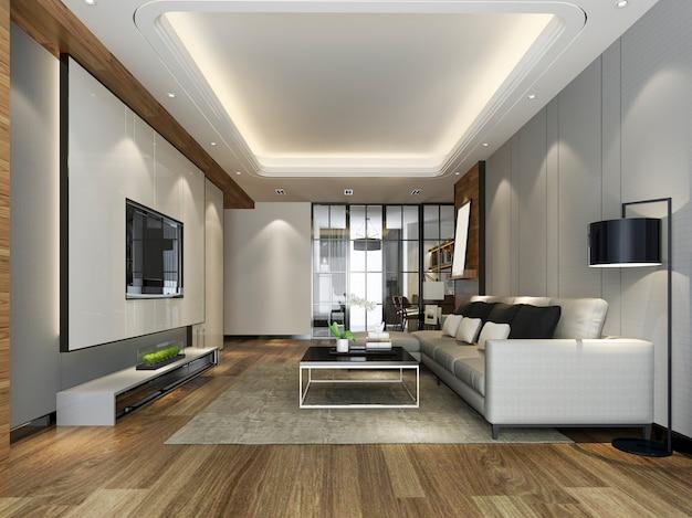 Renderização 3d moderna sala de jantar e cozinha com sala de estar com decoração de luxo