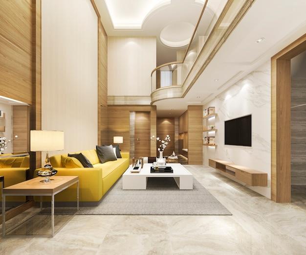 Renderização 3d moderna sala de jantar e sala de estar amarela com decoração de luxo teto alto