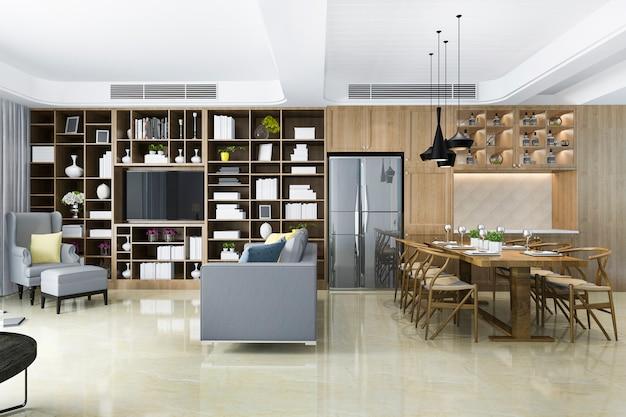 Renderização 3d moderna sala de jantar e sala de estar chineese com decoração de luxo