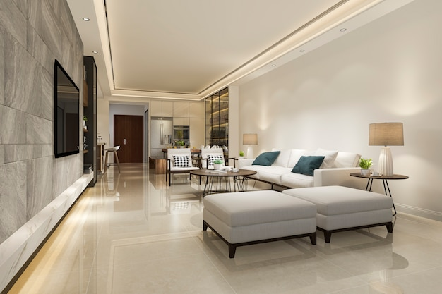Renderização 3d moderna sala de jantar e sala de estar com decoração de luxo