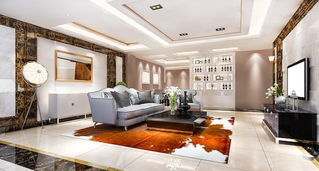 Renderização 3d moderna sala de jantar e sala de estar com decoração luxuosa