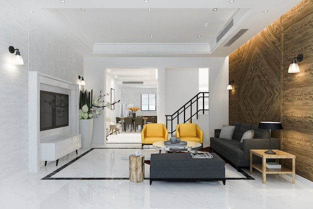 Renderização 3d moderna sala de jantar e sala de estar com poltrona amarela perto de cozinha com decoração clássica de luxo