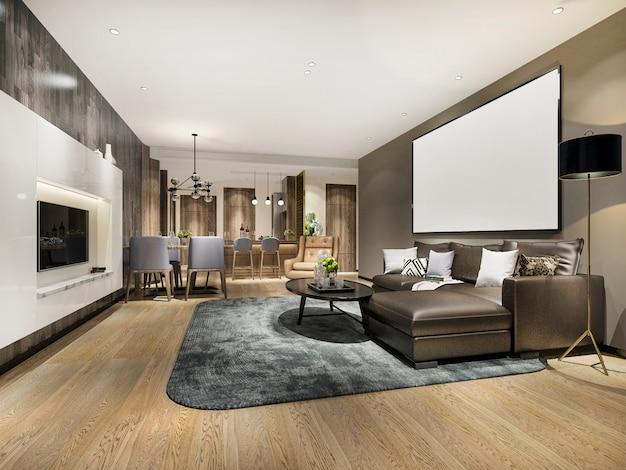Renderização 3d moderna sala de jantar e sala de estar com uma decoração de luxo com mock-se moldura