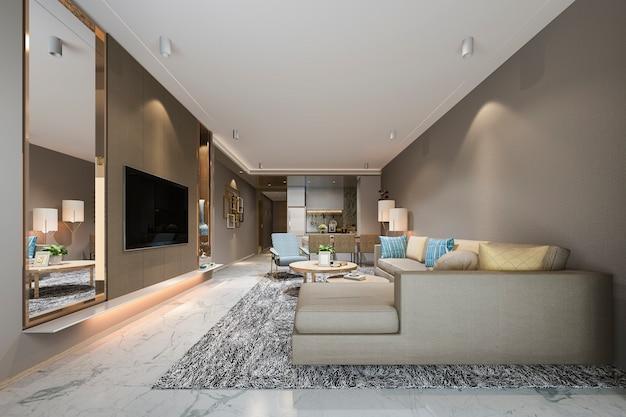 Renderização 3d moderna sala de jantar e sala de estar perto de cozinha com decoração colorida de luxo