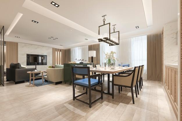 Renderização 3d moderna sala de jantar e sala de estar perto de cozinha com decoração de luxo