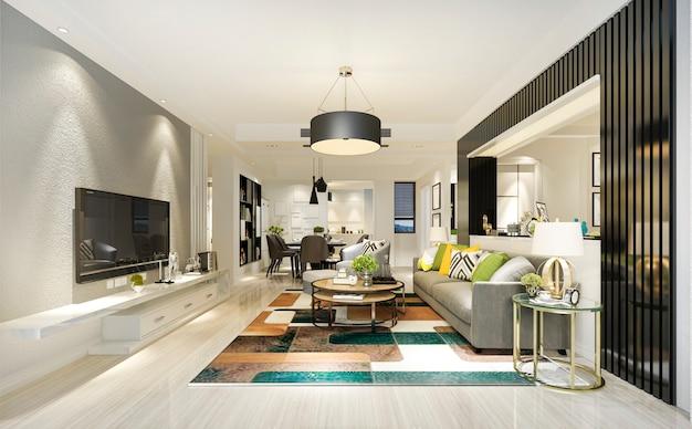 Renderização 3d moderna sala de jantar e sala de estar verde com decoração de luxo