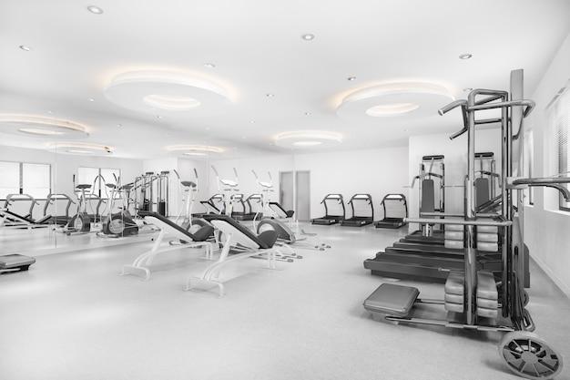 Renderização 3d moderno loft ginásio e fitness