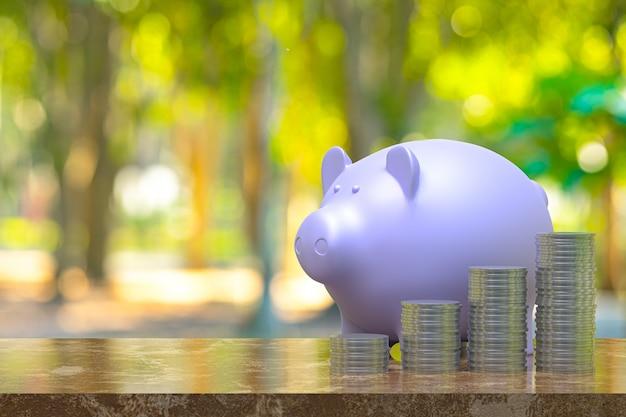 Renderização 3d, moeda com um cofrinho, economizando crescendo para negócios e conceito financeiro idéia