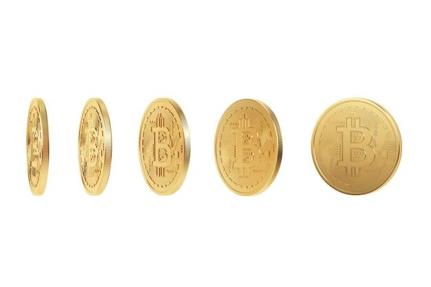 Renderização 3d. moeda digital de bitcoin dourado. isolado no fundo branco.