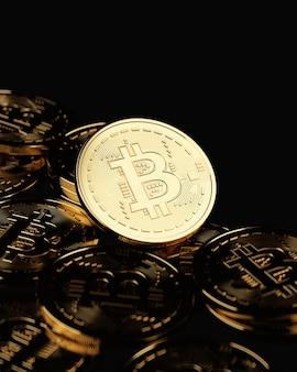 Renderização 3d. moeda digital de bitcoin dourado. no fundo preto.