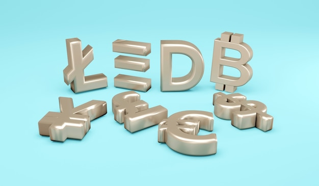 Renderização 3d moeda fiduciária plana e conceito de símbolos criptomoeda de moedas monetárias