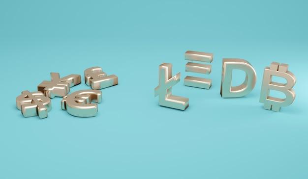 Renderização 3d moeda fiduciária plana e símbolos de criptomoeda em pé no fundo