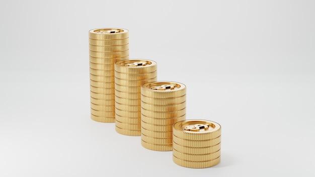 Renderização 3d. moedas de ouro. conceito de economia ou dinheiro, investimento no banco.