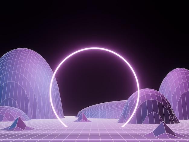 Renderização 3d. moldura portal roxa. fundo de estrutura de arame de terreno topográfico.