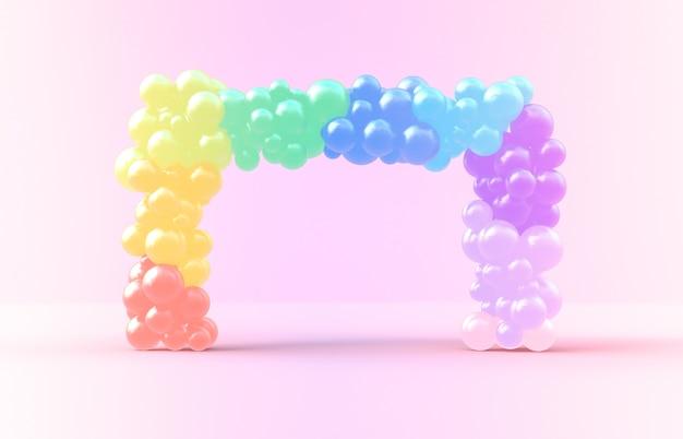 Renderização 3d. moldura quadrada doce arco-íris com pano de fundo de doces ballloons