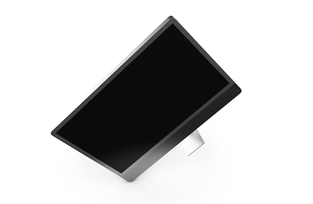 Renderização 3d monitor preto isolado no fundo branco