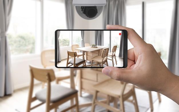 Renderização 3d móvel conecte-se à câmera de segurança doméstica