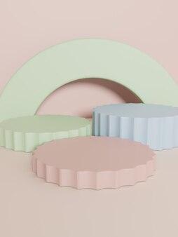 Renderização 3d multi colors studio shot fundo de exibição do produto com blocos de plataforma de empilhamento
