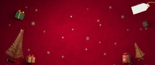 Renderização 3d natal, caixa de presente, árvores de natal em fundo vermelho escuro