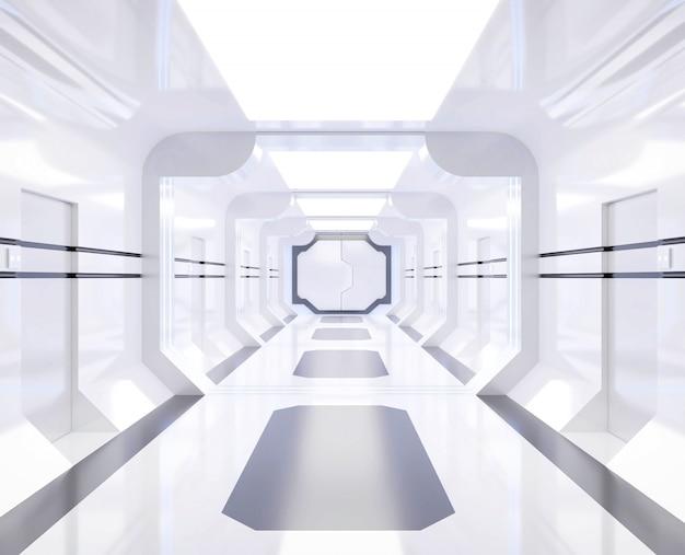 Renderização 3d nave espacial branco e brilhante interior com vista, túnel, corredor