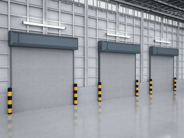Renderização 3d no interior do armazém com as portas do obturador fechadas