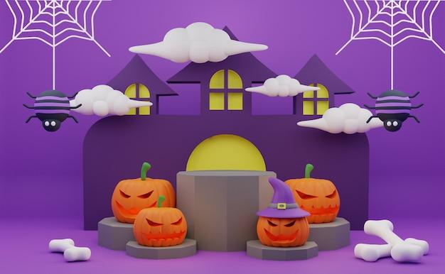 Renderização 3d no pódio do halloween promoção personagem assustador aranhas de abóbora fundo de casa assombrada