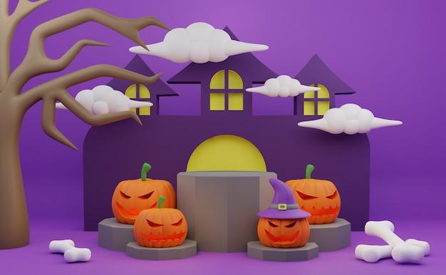 Renderização 3d no pódio do halloween promoção personagem assustador árvore de abóbora casa assombrada fundo